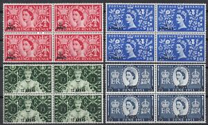 BPAEA Muscat Oman: 1953 SG 52/55, QE II Coronation, Blocks of 4, MNH