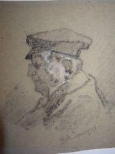 Albert F. LAURENS (1864-1934) DESSIN FUSAIN PORTRAIT VIEIL HOMME LUNETTES 1900