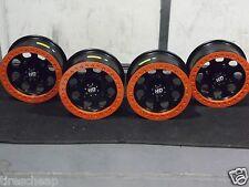 "14"" POLARIS BLACK BEADLOCK ORANGE RINGS ATV WHEELS NEW SET 4 - 14HB123 POL10K"