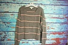 H&M L.O.G.G Gray and Pink Stripe Crop Sweater SZ M