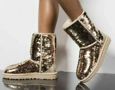 NEW UGG Uggs CLASSIC SHORT SEQUINS Gold Suede Boots US 7 8  EU 38 39 UK 5 6 24