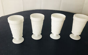 4 Vintage Milk Glass White Goblets Drinking Glasses Footed Pedestal Grapes
