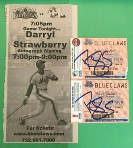 Two Blue Claws Ticket Stubs Autographed by Darryl Strawberry