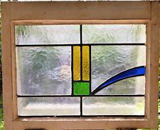 ANTIQUE LEADED ENGLISH STAINED GLASS WINDOW WOOD FRAME ENGLAND OLD HOUSE 63