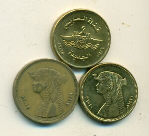 3 DIFFERENT 50 PIASTRE COINS from EGYPT - 2005, 2010 & 2015 (3 DIFFERENT TYPES)