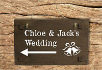 Personalised Wedding Direction Sign with your names - Wooden Sign with Arrow