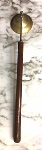 Vintage Large Wooden Handle and Brass Bell Candle Snuffer. 14 Inches Long.