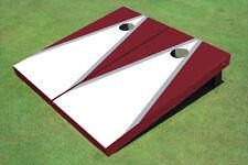White And Maroon Matching Triangle Custom Cornhole Board