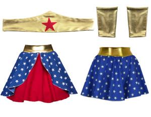 Ladies Wonder superhero skirt Tiara Crown HEADBAND/ GAUNTLET CUFFS Fancy Costume