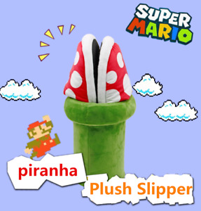 Anime Super Mario Bros Piranha Flower Soft Plush Slipper Shoes Cosplay Cute Gift