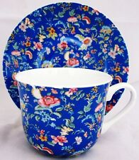 Blue Petite Bombay Large Cup & Saucer Bone China Breakfast Set Hand Decorated UK