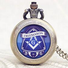 Vintage Quartz Pocket Watch Pendant Gift Antique Style Free Mason Necklace Watch