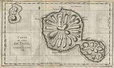 FRANZÖSISCH POLYNESIEN Original Kupferstich Landkarte Cook Bernard 1769