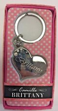 Brittany Camille heart silver color personalized Keychain Brand New In Package