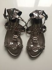 STUNNING RUSSELL & BROMLEY LADIES SANDALS SILVER SIZE 37 UK 4 IN EX CON