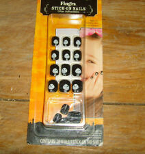NEW NIP Girls fake nails press on Halloween gothic child youth Skeleton Friendly