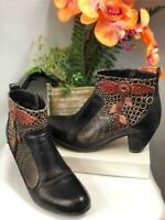 "L'Artiste Spring Step ""Parfum"" Brown Leather Florals Ankle Booties US 7/ EU 37"
