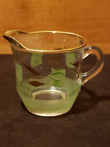 Vintage Bartlett Collins Gay Fad Clear Glass Creamer with Painted Green Tulips