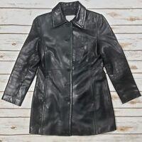 Nine West Distressed Soft Black Genuine Leather Jacket Mid Length Women Size M