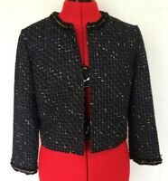 KARL LAGERFELD TWEED BOLERO Jacket WOMENS S SMALL BLACK OPEN FRONT
