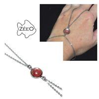 ZEEO Chaîne de main bracelet bague acier argenté Agate rubanée bijou