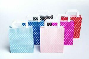 Papiertragetasche Flachhenkel Kraftpapier mit weißen Punkten diversen Farben
