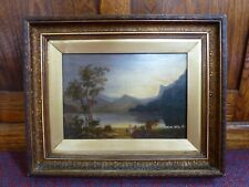 Antique Victorian heavy gold frame old landscape oil painting Grand tour Lake
