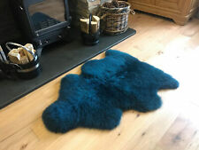 Dark Turquoise Genuine Large Sheepskin Rug with Extra Thick Wool / British Made