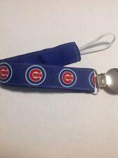 Baby Boy Girl Pacifier Clip Holder Leash Ribbon Chicago Cubs Baseball Blue