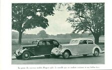 Publicité ancienne voiture Peugeot 401 et Berline 601 1934 issue de magazine