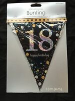 18th Birthday Pennant Flag Banner Black Silver Gold Party Decorations Age 18
