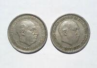 Vintage 2 Coin Spain 1957, 2 x 5 Pesetas (5PTAS) Francisco Franco,1957,Nice coin