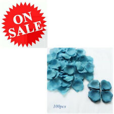Blue Artificial Fake Rose Petals Leaves Silk Flowers Lot Bulk Wedding Decoration