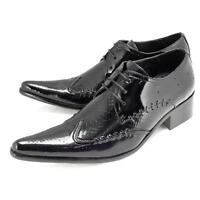 Punk Mens Formal Dress Leather Lace Up Hot Sale Business Pointed Toe Shoes size