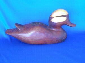 Mallard Wood Duck Decoy Hand Carved Cedar Signed Swiney 1991