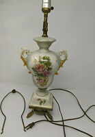 Vntg Hand Painted Floral Porcelain Urn Style table Lamp Brass base Green Pink
