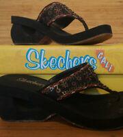 Sketchers Cali Womens Black Foam Wedge Suede Strap Sandals - Size 4UK 37EU 7US