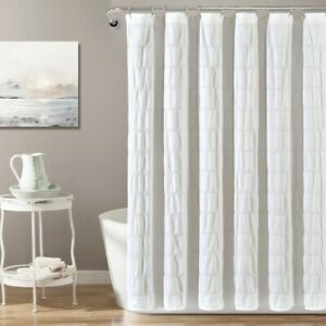 Waffle Stripe Woven Cotton Shower Curtain Single 72x72