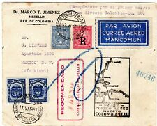 COLOMBIA - USA - MEXICO - SCADTA - FF REGISTERED COVER - MEDELLIN to DF - 1931
