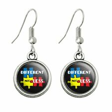 Novelty Dangling Drop Charm Earrings Different Not Less Autism Puzzle Pieces