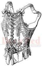 Deep Red Rubber Cling Stamp Victorian Corset Under Garment