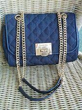 Michael Kors Vivianne Dark Blue Denim Quilted Cross Body Shoulder Bag