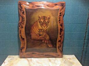 Rare Art Tiger&Cub 🐯Print Applied Laquered Wood Ply Plaque Morris Rippel Scarce
