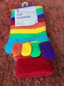 Size 4-7  COTTON  SOCKS with Lycra RAINBOW STRIPED,. NEW