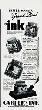 1937 ORIGINAL VINTAGE CARTER'S FOUNTAIN PEN INK MAGAZINE AD