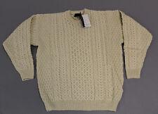 Aran Woolen Mills Men's Irish Crew Neck Cable-Knit Sweater AB3 Off White Large