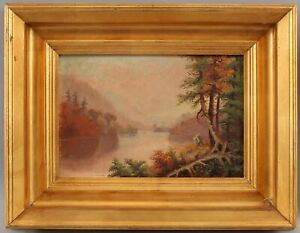 Small Antique Signed 19thC Hudson River Landscape Oil Painting w/ Gilt Frame NR