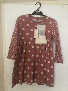 Girls TU Pink Spotty Long Sleeved Jumper Dress & Tights Age 4-5 Years BNWT NEW