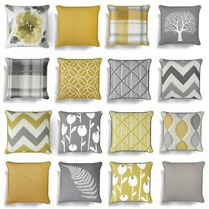 "Grey Ochre Mustard Cushion Cover Collection 17""/18"" Covers Filled Cushions"