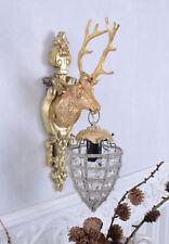 Wandlampe Kristalle Wandleuchte Hirsch Wandapplik Gold Jagdtrophäe